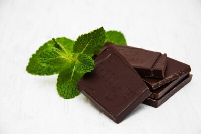 Sticker Chocolate pieces with a leaf of mint