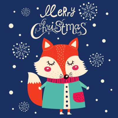 Sticker Christmas card with cute