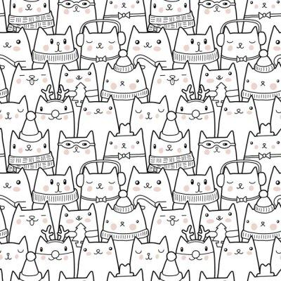 Sticker Christmas cats seamless pattern