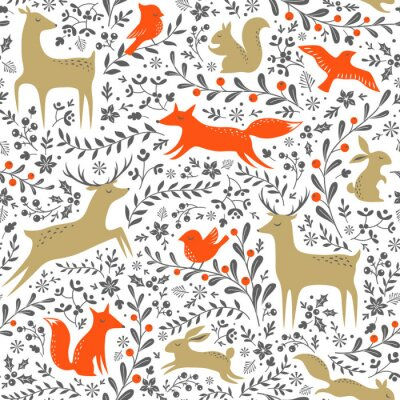 Sticker Christmas floral woodland animals seamless pattern on white background