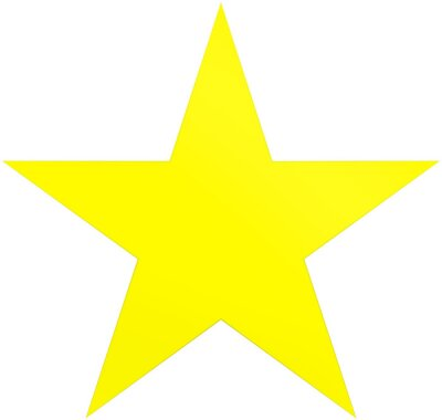 Sticker Christmas star yellow - simple 5 point star - isolated on white