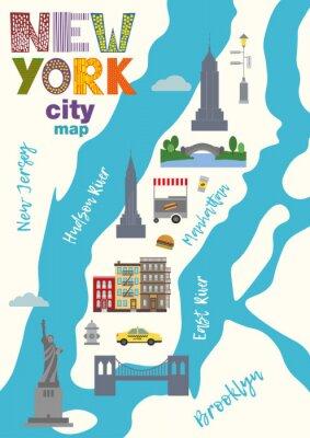 Sticker City map of Manhattan of New York city