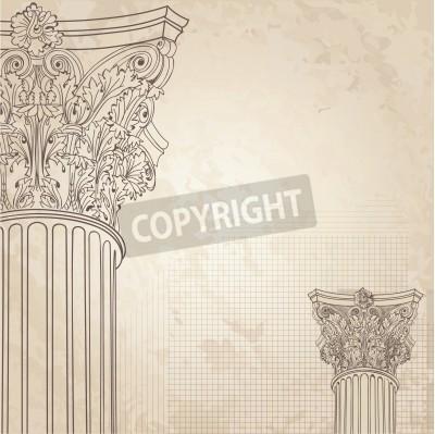 Sticker Classic columns seamless background. Roman corinthian column. Illustration onold paper background for design sketch