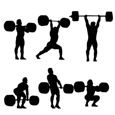 Sticker Clean and Jerk Silhouette of weightlifter