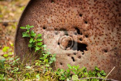 Sticker Closeup of a old rustic oil barrel and green plants