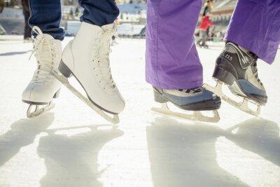 Sticker Closeup skating shoes ice skating outdoor at ice rink