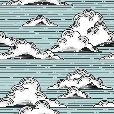 Sticker Clouds seamless pattern hand-drawn illustration.  Vector background