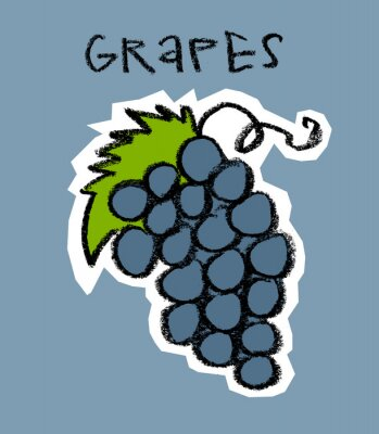 Sticker Cluster of grapes on blue background