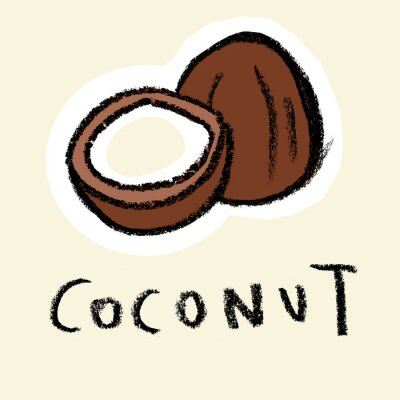 Sticker Coconut on pale background