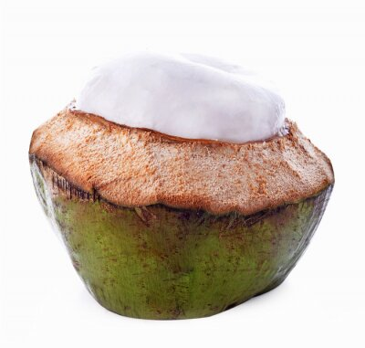 Sticker Coconut shell isolated on white background
