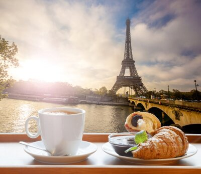 Sticker Coffee with croissants against Eiffel Tower in Paris, France