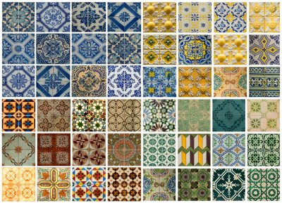 Sticker Collage of different colored pattern tiles in Portugal
