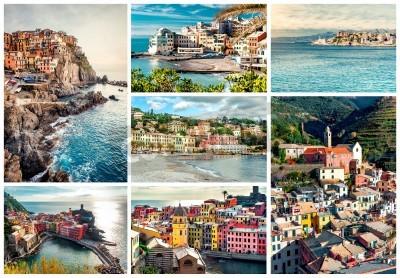 Sticker Collage of most famous landmarks in Italy. Italian Riviera-Genoa, Manarola, Vernazza, Bogliasco, Santa Margherita.
