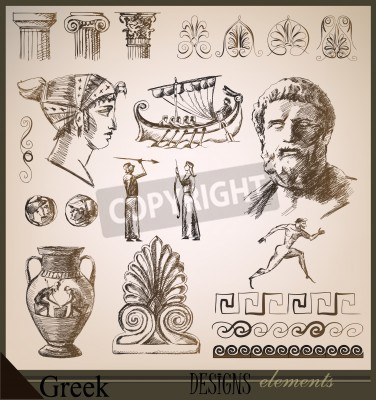 Sticker collection of design elements Ancient Rome