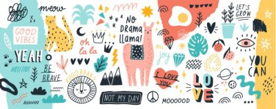 Sticker Collection of handwritten slogans or phrases and decorative design elements hand drawn in trendy doodle style - animals, plants, symbols. Colorful vector illustration for T-shirt or sweatshirt print.