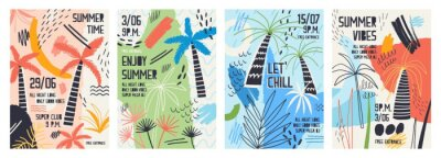 Sticker Collection of invitation or poster templates decorated with tropical palm trees, paint stains, blots and scribble for summer open air dance party. Vector illustration for summertime event promotion.
