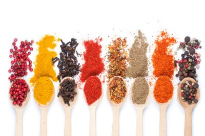 Sticker collection of spices on spoons, isolated background