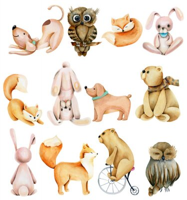 Sticker Collection of watercolor cute animals (rabbits, foxes, owls, bears and dogs), hand drawn isolated on a white background