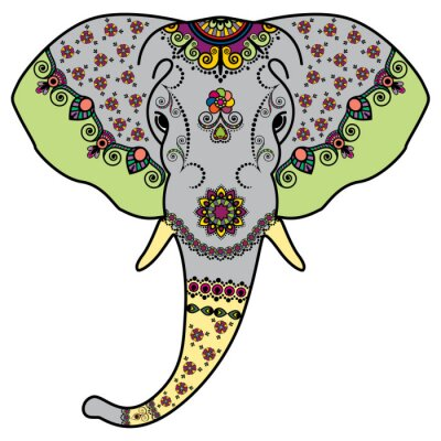 Sticker Color elephant's head in Mehndi Indian style. Vector illustration isolated on white background