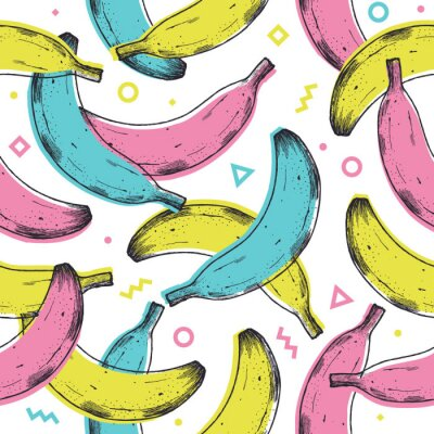 Sticker Colored fun banana seamless pattern. 90s style background. Vector illustration