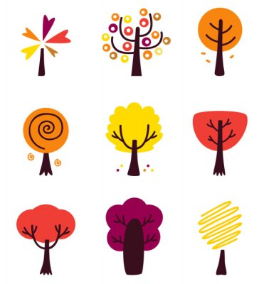 Sticker Colorful Autumn Vector Trees set isolated on white