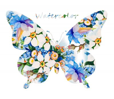 Sticker Colorful butterfly on white background