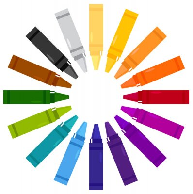 Sticker Colorful crayons in circle isolated on white