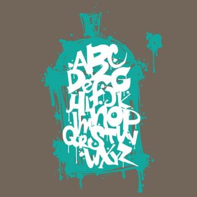 Sticker Colorful graffiti font alphabet letters. Hip hop grafitti design
