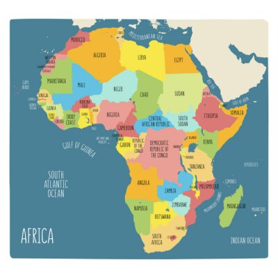 Sticker Colorful hand drawn political map of Africa.