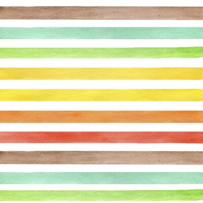 Sticker Colorful hand drawn real watercolor seamless pattern with yellow, green and brown horizontal strips. Abstract grunge seamless pattern. Strips on white background.