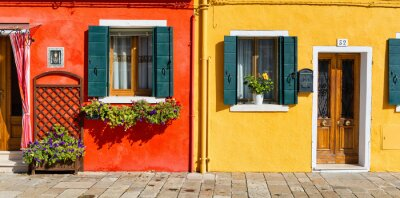 Sticker Colorful house facade in Burano, Italy