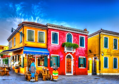 Sticker colorful houses in a raw at Burano island near Venice Italy. HDR