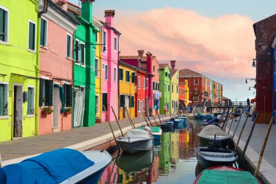 Sticker Colorful houses in Burano village on sunset