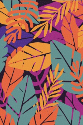 Sticker Colorful leaves seamless pattern background vector illustration. Exotic plants, branches and leaves art print for beauty, fashion and natural products, spa and wellness, wedding and events poster
