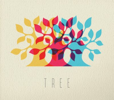Sticker Colorful tree silhouette concept background
