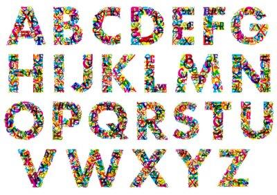 Sticker Colorful upper case alphabet letters