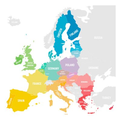 Sticker Colorful vector map of EU, European Union, member states