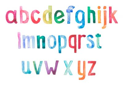 Sticker Colorful watercolor aquarelle font type handwritten hand draw