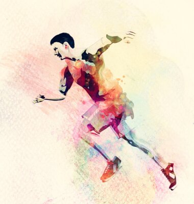 Sticker Colorful watercolor painting of man running. Abstract creative sport background
