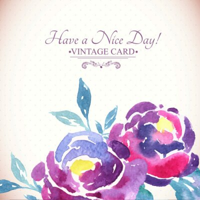 Sticker Colorful Watercolor Rose Floral Greeting Card