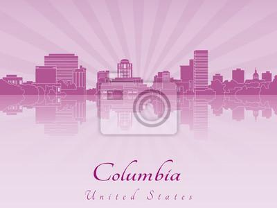 Sticker Columbia skyline in purple radiant orchid