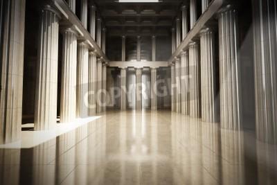 Sticker Column interior empty room, law or government background concept, 3d model scene