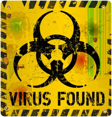 Sticker computer virus alert sign, vector illustration