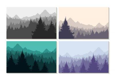 Sticker Concept illustration winter forest landscape set