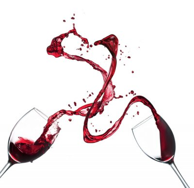 Sticker Concept of red wine splashing from glasses on white background