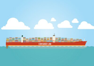 Sticker Container ship loaded with cargo