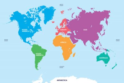 Sticker Continents of the World, Map