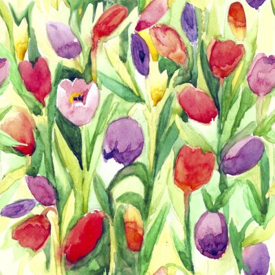 Sticker Continuous pattern. Watercolor tulips