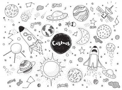 Sticker Cosmic objects set. Hand drawn vector doodles. Rockets, planets, constellations, ufo, stars, etc. Space theme.