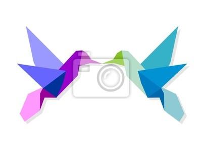 Sticker Couple of colorful origami hummingbird
